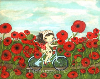 Poppy Print Girl Bike Ride Whimsical Wall Art---Peddling through the Poppies