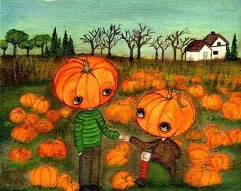 Pumpkin Print Cute Harvest Couple Love Pumpkins Farm Garden Art ---Come With Me