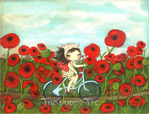 Poppy Print Girl Bike Ride Whimsical Wall Art---Peddling through the Poppies