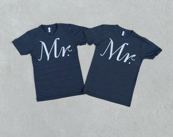 Mr. and Mr. Tshirt set, wedding gift, same sex marriage, couples shirts, groomsmen gift, matching shirts, wedding t-shirt set