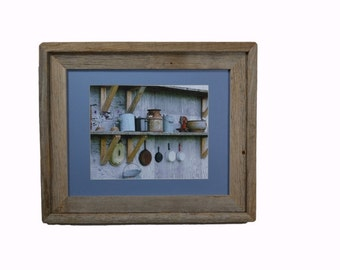 Rustic pots and pans print in recycled 11x14 wood frame great country kitchen decor