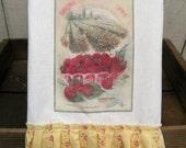 Kitchen dish towel Vintage Seed fruit Catalog Shabby Prairie Farmhouse cotton Tattered ruffles ECS RDT strawberries