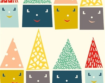 Birch Happy Houses Organic Cotton Fabric Happy Town