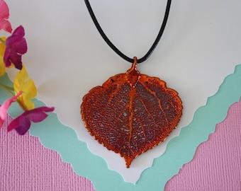 Copper Aspen Leaf Necklace, Real Leaf, Aspen, Real Copper Leaf, Copper Aspen Leaf, Nature Jewelry, Organic, Gift, LL51
