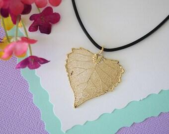 Gold Leaf Necklace, Real Leaf, Cottonwood Leaf Pendant, Gold Heart Shaped Leaf Necklace, Real Leaf Necklace, 24kt Gold Dipped Leaf, LL103