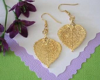 Gold Aspen Leaf Earrings Small, Aspen Leaf, Small Size Earrings, 24kt Gold Earrings, Real Leaf Earrings, Bridesmaid Gift, LESM85