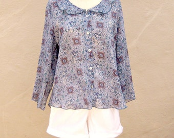 90s paisley peasant blouse / bluish gray butterfly blouse / sheer airy boho / large petite