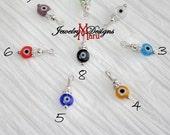 Add on Turkish Evil Eye Glass Charms 925 Silver, Round Evil Eye Glass Charms, Protection Charms, Colorful Evil Eye Charms, Add to Jewelry