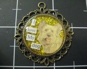 Fluffy Dog Pendant, I Love My Dog, 50% goes to the current selected animal charity