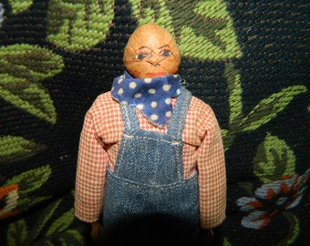1950's Bob Burns Radio Show Character Doll, Ozark Hillbillies, Ozark Mountain, Uncle Rick, Mrs. Smith arved Wood Doll, Hickory Nut