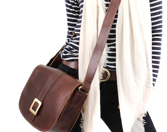 Leather Messenger Bag /Cross Body Bag /Handbag, Brown