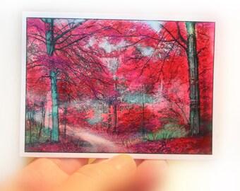 Autumn Beaches, aceo original, Artist trading card, red decor, miniature art, tiny, red and pink art, trails, dirt roads, Fall decor