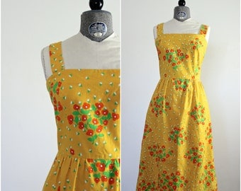 Tropical Dress • Malia Dress • 60s Sundress • Vintage Sundress • Malia of Honolulu Dress • 1960s Summer Dress • Floral Dress • Cotton Dress