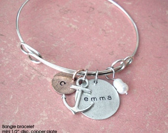 Bangle Charm Bracelet by Tipsy Whimsey .. Fully customizable.. Mini Medium Discs Pearl Crystal Anchor Love Hearts Initials Monogram Kids Bff