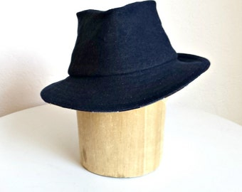 SALE - Men's Fedora in Denim with Plaid Under Brim - Denim Hat