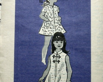 Vintage 1960s Girls Dress Pattern A-Line Style With Zip Front Anne Adams 4579 Sz 4