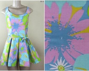 vintage 1960s Summer Romper, playsuit, jumper, sun dress, skort, sunsuit, bathing suit, jumpsuit - pastel floral print - size small, medium