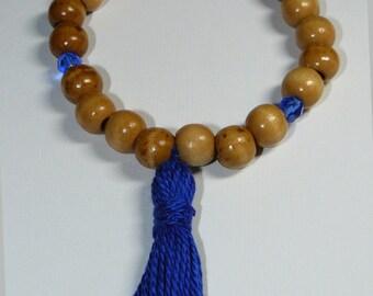 Buddha/Buddhism 21 Count Natural Wood Unisex (Mala) Bracelet with Tassel