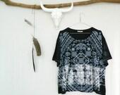 WAYFARER . tie dye women's boxy tee . size 16. basalt black . hippie boho gypsy bohemian festival hippy . australia . t-shirt . US size 12