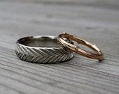 Twig Band & Wide Feather Band Set: Yellow, White, or Rose Gold; Set of 2 Rings