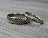 Feather Wedding Band Set: Yellow, White, or Rose Gold; Set of 2 Rings