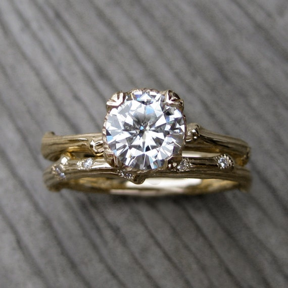 items similar to moissanite twig engagement amp wedding ring