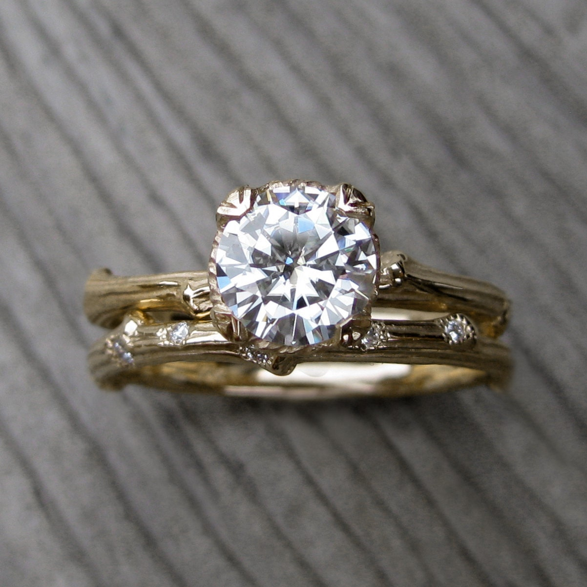 moissanite twig engagement amp wedding ring set by