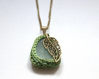 Sea glass necklace green crochet Valentine gift for her bronze leaf gift for her textile jewelry seaglass pendant beach Weddings