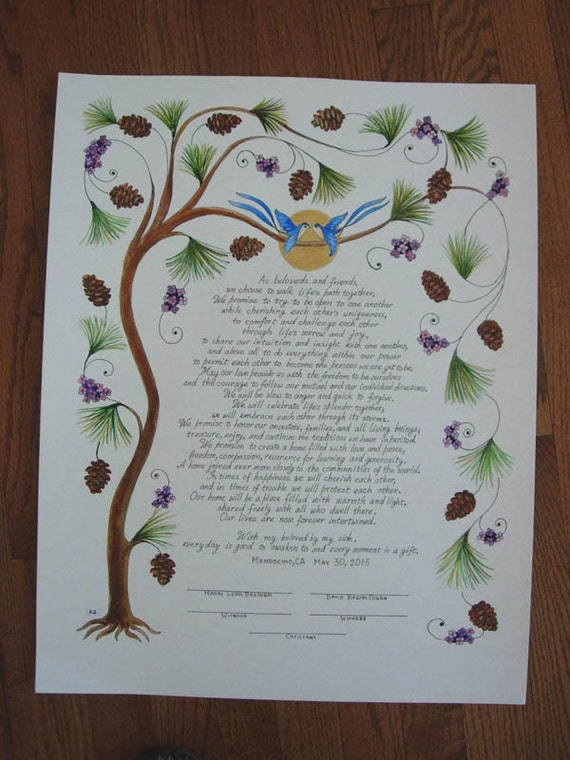 Personalized Tree of Life Wedding Vows, Painted & Lettered 16 x 20 - Custom Made to order