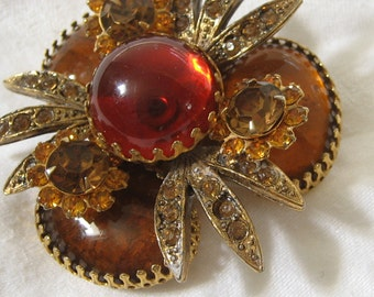 Vintage Amber Glass & Rhinestone in Metal Large Layer Costume Jewelry Brooch