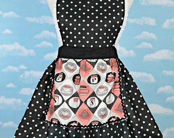 RETRO APRON  Lucy ... retro black polka dot apron  womens full apron flirty hostess gift vintage inspired flirty
