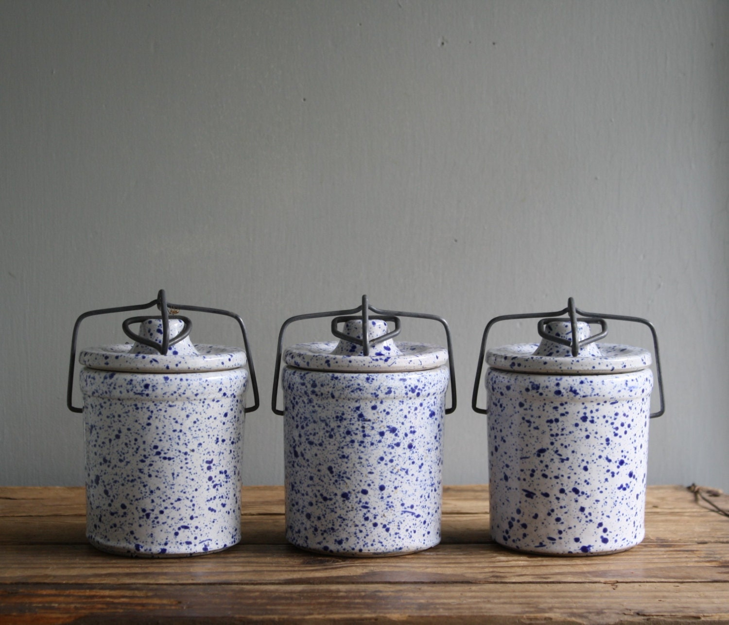 vintage ceramic crockery canisters bale wire