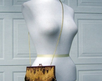 Vintage Beaded purse hand bag - Metallic Pave in Gold Silver & Copper Convertible Shoulder Cocktail Clutch