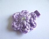 Soft Purple Crochet Flower Hair Clip Light Purple Crochet Hair Clip Purple Hair Clip Lavender Hair Clip Spring Hair Clip Easter Hair Clip