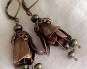 oO Dahlia Oo green freshwater pearls brass flower earrings