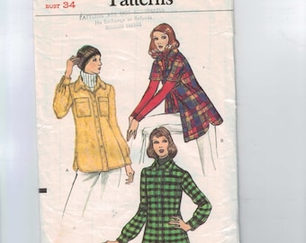 1970s Vintage Sewing Pattern Vogue 8375 Misses Jacket Lumberjack Plaid Size 12 Bust 34 70s