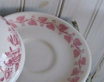 Red Windsor Restaurant Ware Buffalo China Saucer Red Leaf Ivy
