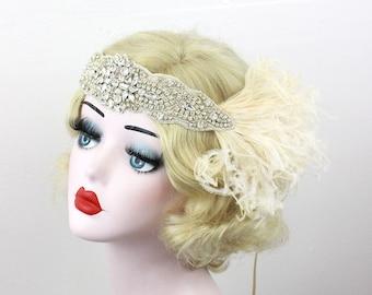 Great Gatsby Bridal Head Piece, Silver Hair Accessory - Feather Headband - 1920s Flapper - Crystal HeadDress - Champagne Feather Fascinator
