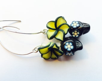 Sugar Skull Earrings Black and Yellow Plumeria Day of the Dead Jewelry