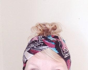 TopTwist Headband - Turban - Headwrap - Ethnic print Stretch Headband - Wide Jersey Headband