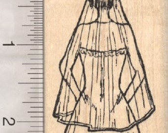 Bride Rubber Stamp, Wedding Gown and Veil H28311 Wood Mounted