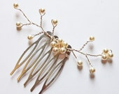 Ivory Pearl Flower Hair Vine - White Swarovski Pearl Champagne Crystal - Wedding Hair Accessory