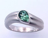 AAAA Lime Green TOURMALINE Pear shape Natural Untreated Paraiba like colored diamond ring .66Ct 7x5mm 14K White gold ring 0670
