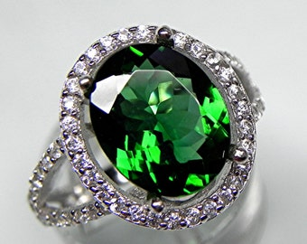 AAAA Chrome Tourmaline   12x10mm  3.57 Carats   18K white gold diamond halo ring. MMM