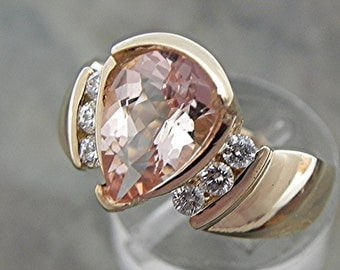 AAA Natural Peach Salmon Pink 1.72 Ct 10X7mm. Morganite 14K  Yellow Gold engagement ring with .20 ct diamonds 1598