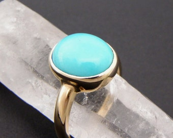 AAAA Sleeping Beauty Turquoise from Arizona   12x10mm   14K Yellow Gold Ring MMM