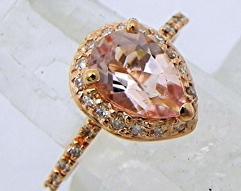 AAA Pear shape Natural untreated Salmon Peach Morganite 9x6mm  1.54 Carat in 14K Rose gold Engagement ring set with .30cts of diamonds.