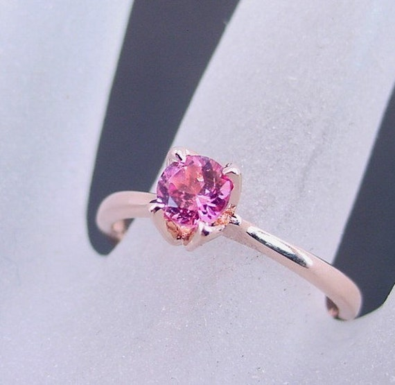 Round Natural PINK Tourmaline Solitaire 5MM in 14K Rose gold  Available in all Tourmaline colors