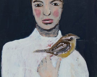 Acrylic Portrait Painting. Woman & Wren Bird Painting. Mixed Media Collage Art. Original Art Wall Hanging