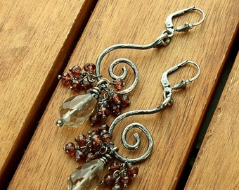 "Silver earrings, dangle earrings, spiral  earrings , gemstone earrings,  womens jewelry - 2.4"" long"